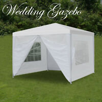 10' x 10' Outdoor Canopy Party Wedding Tent Gazebo Pavilion w/4 Side Walls White