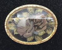 Vintage Ladies Brooch Lapel Pin Oval Roses Clear Stone Goldtone Costume 2575F