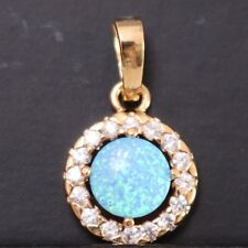 Vintage 3 Ct Round Blue Fire Opal Halo Pendant 14K Rose Gold Plated Jewelry Gift