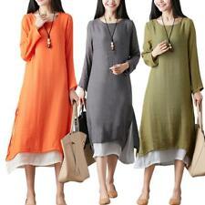 Fake 2pcs Plus Size Irregular Dress Art Style Women Long Sleeve Dresses