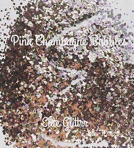 Nail Art Glitter Pink Champagne Platinium Bubbles Multi Mix Chunky Glitter