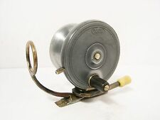 "Vintage Antique Malloch Brass Side Casting 3 ¼"" Fishing Reel Gibbs Patent Lever"