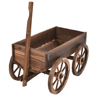 Garden Bed Wood Wagon Pot Outdoor Planter Flower Grow Box Veggies Stand w Wheels