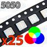 25x LED SMD5050 RGB alto brillo smd 5050 tricolor red green blue rojo verde azul