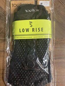New TOESOX Men's Women's LOW RISE Half Toe Grip Toe Socks BLACK) Medium