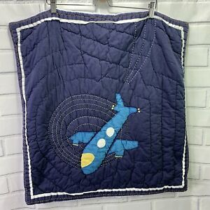 """Pottery Barn Kids Airplane Pillow Sham Quilted 24"""" x 26"""" Bedding Case C4"""