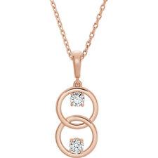 CHARLES & colvard moissanita two-stone Collar en 14k oro rosa (5mm)