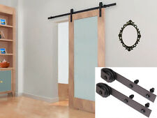 6.6Ft Dark Coffee Rustic Steel Sliding Barn Wood Door Hardware Track Set Kit