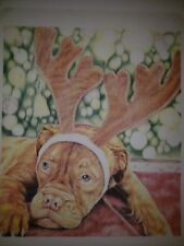 Dogue De Bordeaux , French Mastiff Original Colored Pencil Art Christmas Print