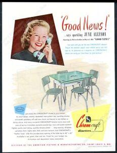 1948 Chromcraft chrome green plastic dinette set table chairs vintage print ad