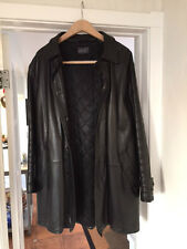DKNY Men's Black Leather Jacket/Car Coat Sz Medium Cuir (donna karan)