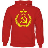 Hammer & Sickle Mens Russian Communism Hoodie Logo Russia USSR Soviet Union