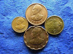 ETHIOPIA 1, 10, 25 CENTS 1936/1944, 5 CENTS 1969/1977