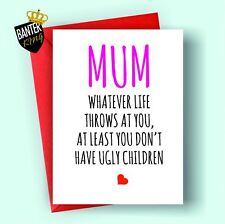 M6 MUM BIRTHDAY GREETINGS CARD RUDE FUNNY CHEEKY LOVE HAPPY MOTHERS DAY MOTHER
