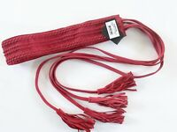 Maje Anoushka Belt Women Red Tasseled Suede Belt NWT $135 30 Inches