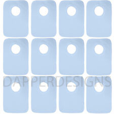 LARGE BLUE BABY BIBS (X12)  SOFT STRETCH COTTON POP OVER HEAD PERFECT MADE UK