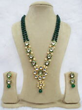 Babosa Sakhi High Quality Traditional Jewelry Green Onyx Long Necklace Set aK288