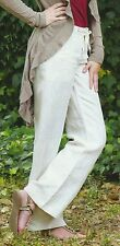 Nwt SACRED THREADS beige sand 100% linen flax wide leg fancy PANTS L Free shipp