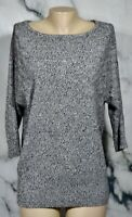 NYC NEW YORK & COMPANY Black Gray Heathered Sweater Large 3/4 Sleeves Unlined