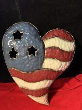 Home Interior Metal American Flag Heart Wall Decor