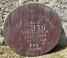 """Rare old 1976 Strathisla Whisky Barrel lid 27"""" wide Braced and ready to hang"""