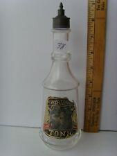 "Antique Label Under Glass ""TONIC–H.W. Zeitzinger"" Barber Bottle 9"" 41/38"