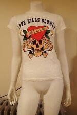 NWT Ed Hardy Women's M Short Sleeve White Cotton Love Kills T-Shirt FREE GIFT!