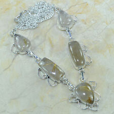 "Handmade Natural Rutilated Quartz 925 Sterling Silver Necklace 21"" #A84322"