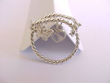 WIRE BANGLE RINGS & CHARMS STERLING SILVER 925 EXPANDABLE ADJUSTABLE