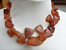 Carnelian necklace, triangular carnelian stone beads from Mali,  trade beads