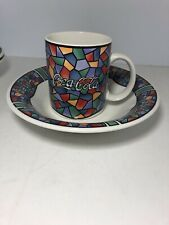Gibson Coca Cola Stained Glass Mug And Bowl Breakfast Set