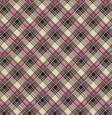 Denyse Schmidt Ansonia Corner Plaid Fabric in Mushroom PWDS065 100% Cotton