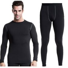Men's Thermal Fleece Underwear Set Compression Tight Top&Bottom Hot-Dry Tech
