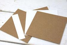 20 x Kraftpapier 10,2x10,2cm eckig braun/weiß Bastel Kraft Papier Docrafts