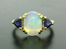 18k Solid Gold 3.87ctw Incredible Opal & Trillion Cut Royal Blue Sapphire Ring