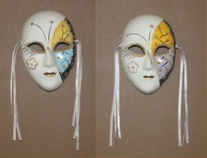2 Small Venetian Wall Decor Theatre Butterfly Clay Masks