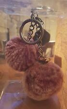 NWT $39 PATRICIA NASH BERRY RED SHERPA FUR Pom Pom Key Ring Chain w/ Charm