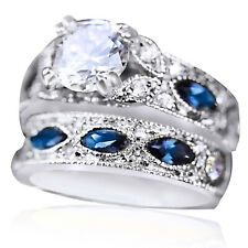 9K WHITE GOLD Over SIMULATED DIAMONDS SAPPHIRE ETERNITY BRIDAL LADY RINGS SET