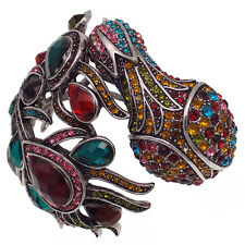 Lucky Peacock Oversize Bracelet Bangle Cuff Multi-color Rhinestone Silver Tone