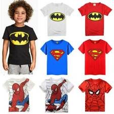 Boy Kids Child Super Hero Batman Superman Spiderman Short Sleeve Tee T Shirt Top