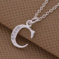 925 Sterling Silver Letter C Austrian  Crystal Pendant Charm Necklace Chain Gift