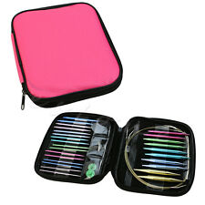 Woven 13 pairs Aluminum Change Head Circular Knitting Needle Ring Set With Case