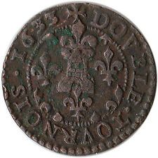 1633 France - Bouillon & Sedan Double Tournois Coin Frederick Maurice KM#14.1
