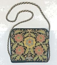 Donna Camoscio Nero Floreale Borsetta Vintage Art Déco Colore Paillettes