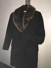 vintage authentic ISAAC MIZRAHI black wool & sheared BEAVER FUR coat SIZE 4