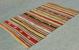 Turkish Vintage Kilim Anatolian Handwoven Nomadic Wool Bohemian Area Rug 5x9 ft