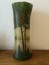 ancien vase emaillé decor paysage dlg legra daum