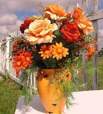 Tuscan Orange Vase Varies Roses Silk Floral Designs Home Decor Rustic Italy