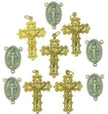 Set Of 10 Rosary Making Lot Metal Crucifix Pendant & Miraculous Centerpiece