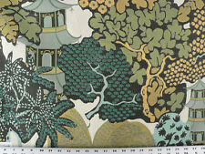 Drapery Upholstery Fabric Asian Design Jacquard Flowering Trees - Beige/Teal